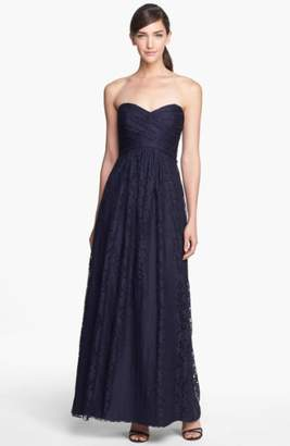 Amsale Pleated Lace Sweetheart Strapless Gown