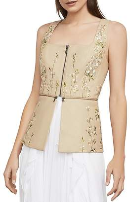 BCBGMAXAZRIA Embroidered Faux Leather Peplum Top