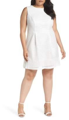 Eliza J Mesh Stripe Pleated A-Line Dress