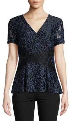 Isaac Mizrahi IMNYC Two-Tone Lace Peplum Top