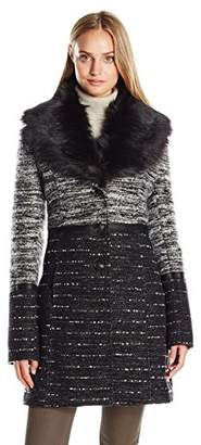 Catherine Malandrino Women's Boucle Wool Coat With Removable Faux Fur Collar
