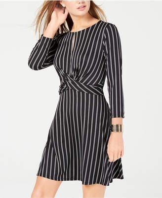 As U Wish Juniors' Printed Twist-Front Dress