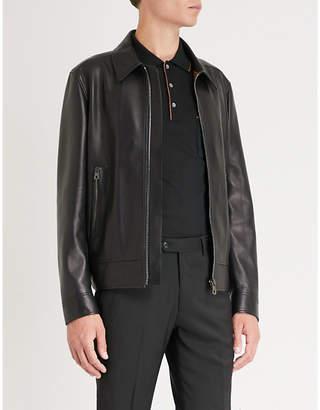 Salvatore Ferragamo Gancio leather Harrington jacket
