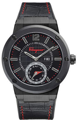 Salvatore Ferragamo Men's 44mm F-80 Motion Leather Smartwatch with Contrast Topstitching, Black