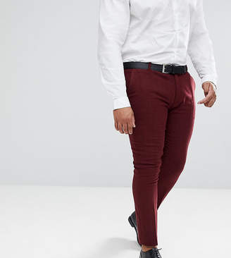 Asos Plus Wedding Super Skinny Suit Pants In Wine Herringbone