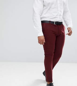 Asos DESIGN PLUS Wedding Super Skinny Suit Pants In Wine Herringbone