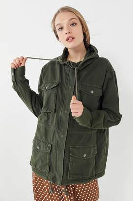 Urban Outfitters Canvas Hooded Zip-Front Surplus Jacket