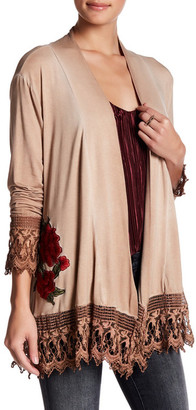 Lumie Open Front Embroidered Cardigan $139 thestylecure.com