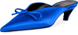 Balenciaga Satin Pointed-Toe Slide Mule