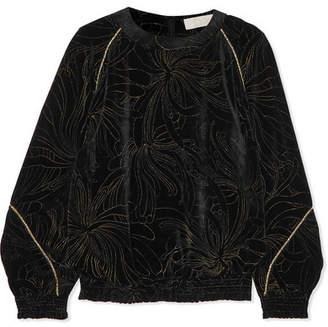 Chloé Smocked Printed Velvet Sweatshirt - Black