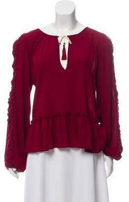 MISA Los Angeles Ruffle-Trimmed Ruched Top