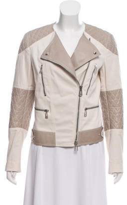 Belstaff Leather-Accented Zip-Up Jacker