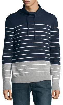 Black & Brown Black Brown Striped Drawstring Sweater