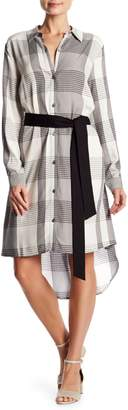 Vince Camuto Oversized Plaid Button Down Hi-Lo Shirtdress