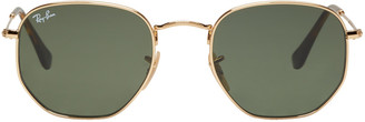 Ray-Ban Gold Hexagonal Flat Sunglasses $150 thestylecure.com
