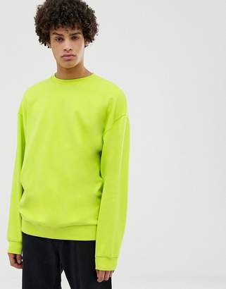 Asos Design DESIGN oversized sweatshirt in bright green