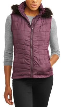 Climate Concepts Women's Faux Fur Trim Fur Hooded Vest