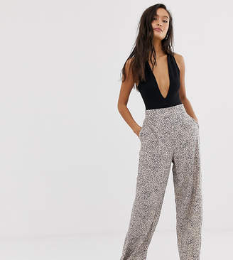 8f971b876c Weekday marble print wide leg trousers in light grey