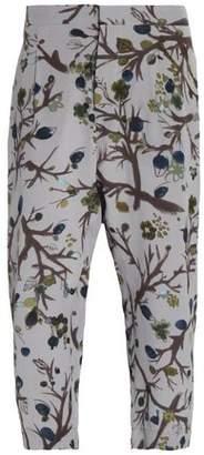 Marni Cropped Printed Silk Crepe De Chine Straight-Leg Pants