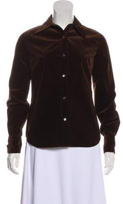 CNC Costume National Velvet Button-Up Top