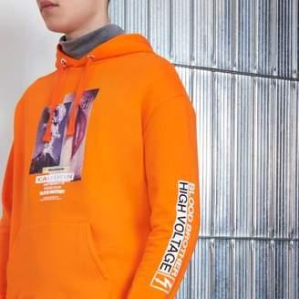 River Island Mens Orange Blood Brother 'caution' print hoodie