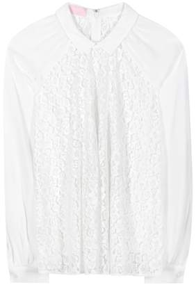 Giamba Lace and crêpe blouse