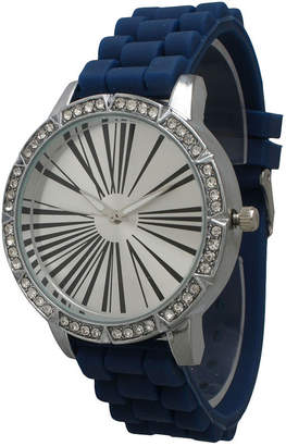 OLIVIA PRATT Olivia Pratt Womens Rhinestone Bezel Roman Numeral Dial Navy Silicon Watch 20369Navy