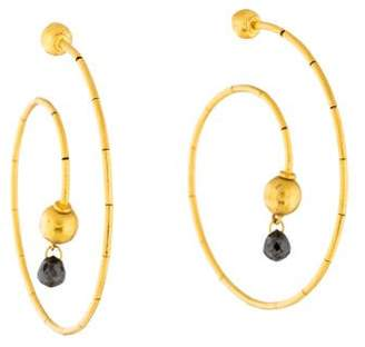 Gurhan 24K Black Diamond Swirl Hoop Earrings