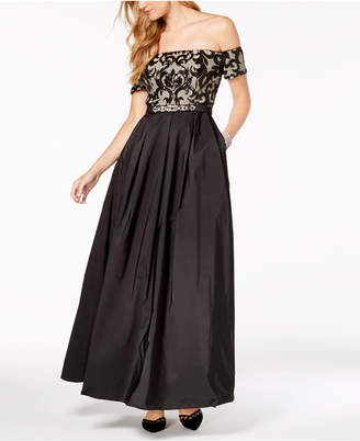 Vince Camuto Embellished Off-The-Shoulder Gown