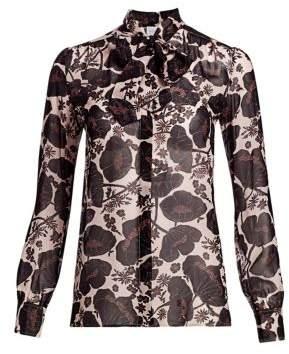 Giambattista Valli Tie-Neck Floral Silk Blouse