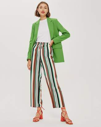 Topshop Stripe Slouch Wide Leg Trousers