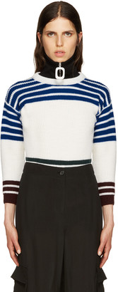 Raf Simons White Wool Stripes Sweater $670 thestylecure.com