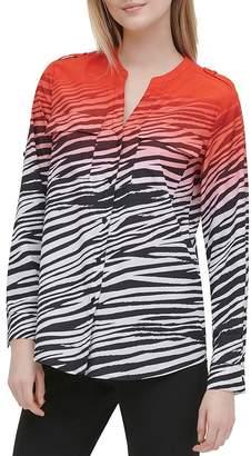 Calvin Klein Ombré Zebra-Print Button-Down Top
