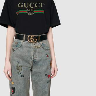 Gucci Leather belt with torchon Double G buckle