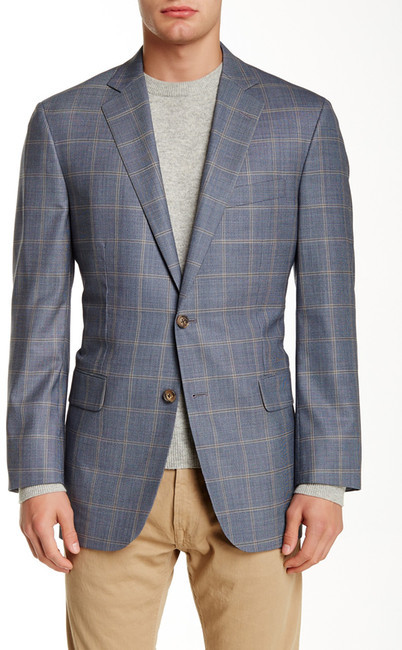 Brooks Brothers  Brooks Brothers Blue Windowpane Notch Lapel Two Button Suit Separates Jacket