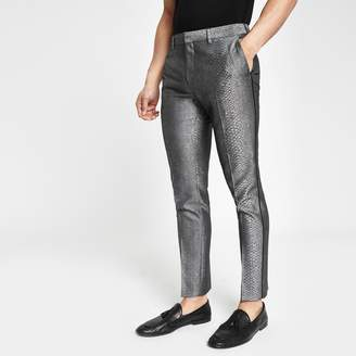 Mens Grey snake skin smart skinny trousers