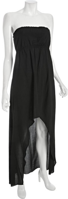 Wyatt black twill strapless hi-low maxi dress