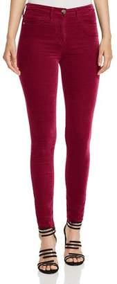 Elisabetta Franchi Velvet Five-Pocket Skinny Pants