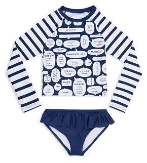 Kate Spade Girls' Speech-Bubble Rashguard 2-Piece Swimsuit - Little Kid