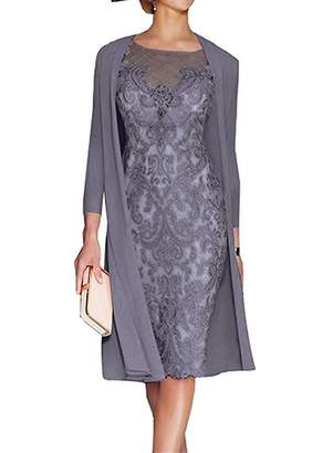XSWPL Women's Mother of The Groom Dresses Tea Length with Jacket US