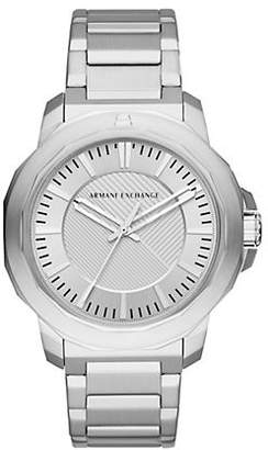 Armani Exchange Three-Hand Silvertone Ryder Watch