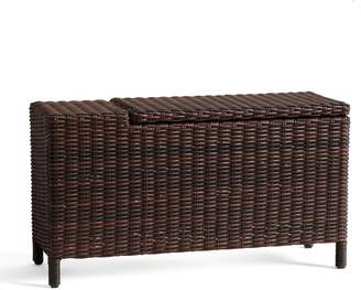 Pottery Barn Torrey All-Weather Wicker Sectional Storage Side Table, Espresso