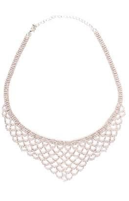 Quiz Silver Diamante Scallop Statement Necklace