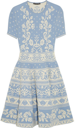 Alexander McQueen - Stretch Jacquard-knit Mini Dress - Sky blue $1,995 thestylecure.com