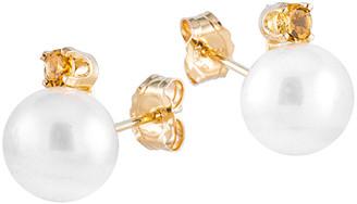 Splendid Pearls 14K 0.10 Ct. Tw. Citrine & 7-7.5Mm Freshwater Pearl Earrings