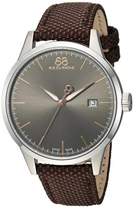88 Rue du Rhone Men's 'Rive' Swiss Quartz Stainless Steel and Leather Dress Watch