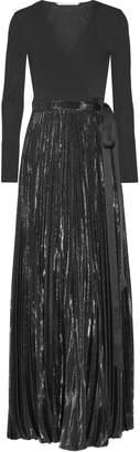 Diane von Furstenberg Heavyn Pleated Metallic Stretch-crepe Wrap Maxi Dress