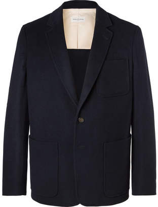 Dries Van Noten Navy Unstructured Wool-Blend Flannel Blazer