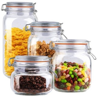 clear Home Basics 4-Piece Glass Canister Set,