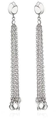 Satya Jewelry Sterling Lotus Petal Chain Tassel Drop Earrings